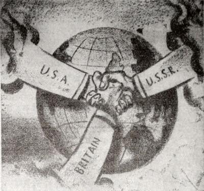 """К образованию антигитлеровской коалиции. Рисунок из американской газеты """"Дейли уоркер""""."""