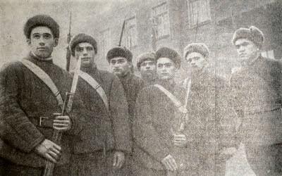 Группа добровольцев Московского рабочего батальона. Фотография. 1941 г.