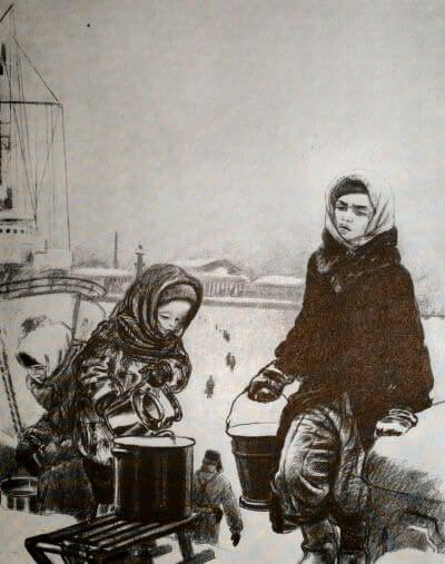 На Неву за водой. А. Ф. Пахомов. Литография. 1942 г.