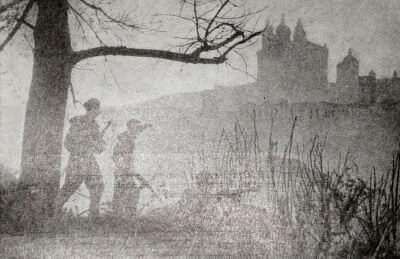 Бойцы Красной Армии в разведке. Смоленск. Фотография. 1943 г.