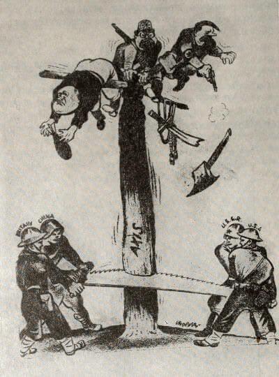 «Все вместе, ребята!» Антигитлеровская коалиция в действии. Рисунок У. Гроппера из журнала «Нью мэссиз». 1943 г.