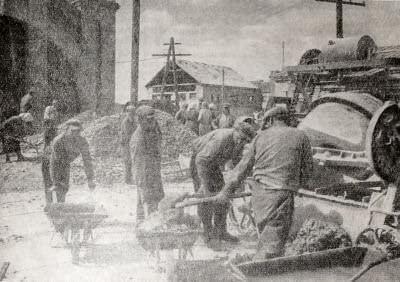Восстановительные работы на шахте в Кривом Роге. Фотография. 1944 г.