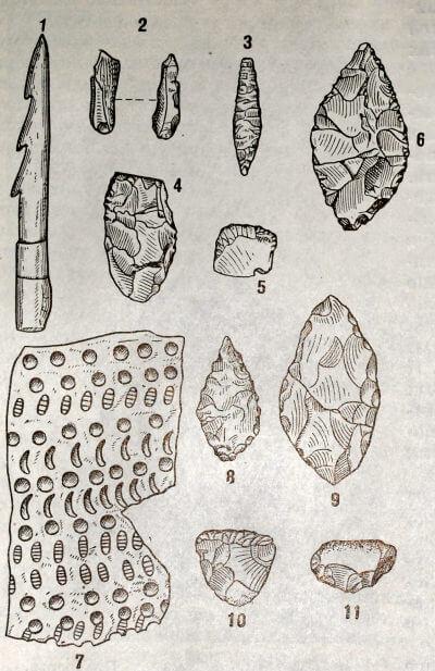 Предметы из неолитических поселений. Льяловская культура. III тысячелетие до н. э. 1 — костяной гарпун; 2, 4— кремнёвые резцы; 3, 8— кремёвые наконечники стрел; 6,10 и 11—кремнёвые скребки 6, 9 — кремнёвые «пики»; 7 — обломок глиняного сосуда.