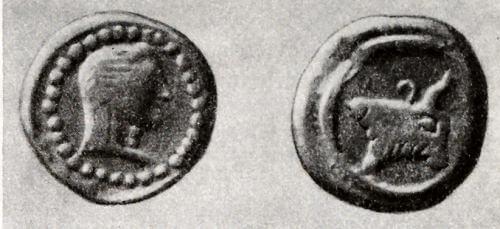 Колхидская серебряная монета V в. до н. э. (увеличено)