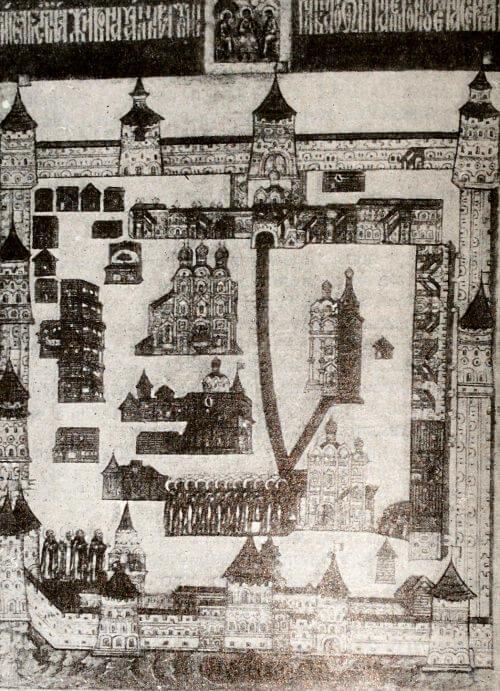 Троице-Сергиев монастырь. Деталь иконы XVII века.