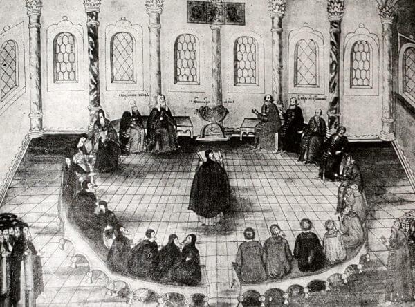Заседание земского собора 1613 года. Миниатюра из рукописи Избрание на царство М.Ф. романова. 1673 год.
