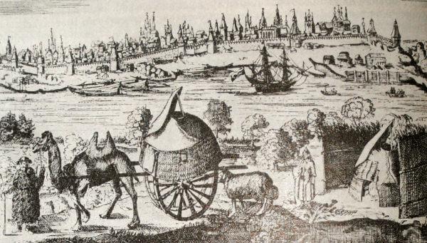 Астрахань. Гравюра из Описания путешествия  А. Олеария. 1656 год.
