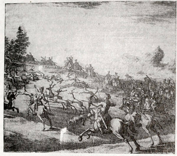 Охота на оленей в Сибири. Гравюра 1706 года.