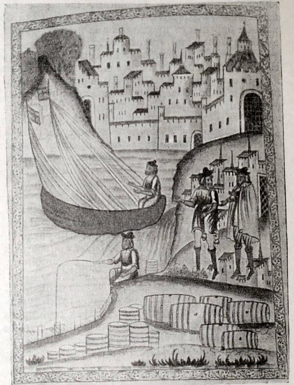 Архангельский торговый порт. Миниатюра Сийского евангелия 1694 года.