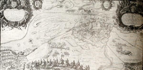 Осада Риги русскими войсками в 1656 году. Гравюра XVII века.