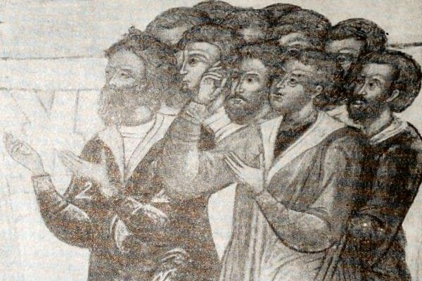 Деталь фрески с изображением семьи гостя Гр. Никитникова в церкви св. Троицы в Москве. Середина XVII века.