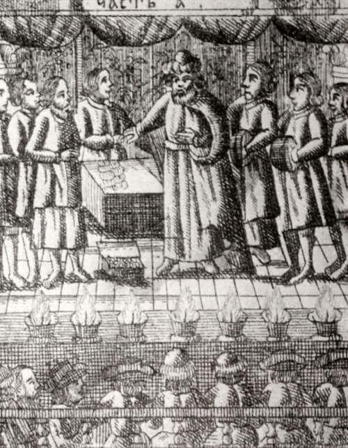 Иллюстрация к Комедии притчи о блудном сыне 1685 года.