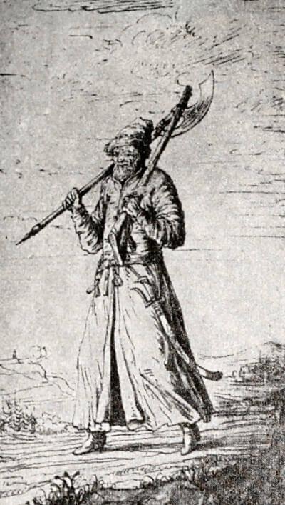 Московский стрелец. Рисунок Э. Пальмквиста 1674 года.