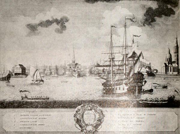 Петербург. Адмиралтейство. Гравюра Марселиуса с рисунка Эллигера. 1725 год.
