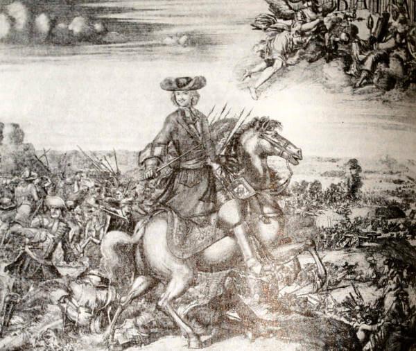 Полтавская баталия. Гравюра П. Пикара 1711 года.