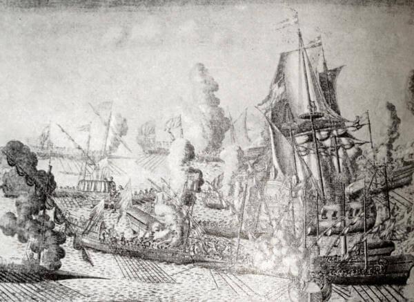 Морское сражение при Гангуте. Гравюра А. Зубова 1715 года.