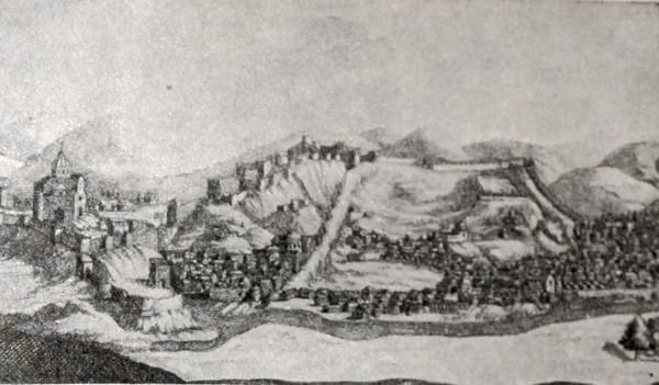 Тбилиси. Гравюра 1686 года.