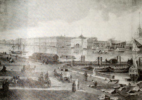 Зимний дворец и Адмиралтейство в Петербурге. Картина Ф.Я. Алексеева 1800 года.