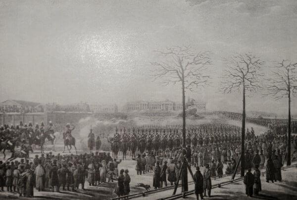 Восстание декабристов 26 (14) декабря 1825 года. Акварель К. Кольмана. 30-е годы XIX века.