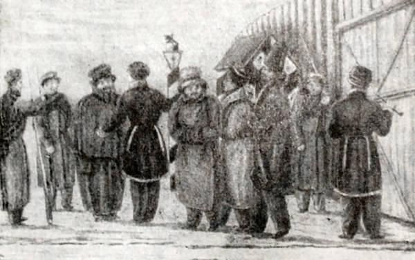Заключенные декабристы. Рисунок декабриста Н. Репина.