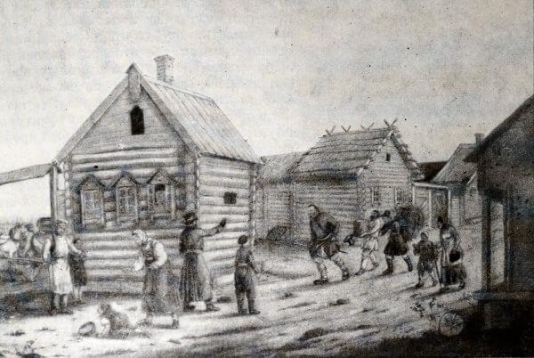 Приезд помещицы. Рисунок неизвестного художника первой половины XIX века.