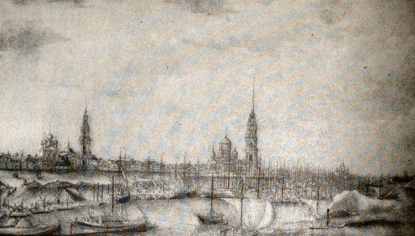Рыбинская пристань. Рисунок И. Белоногова. 1830 год.