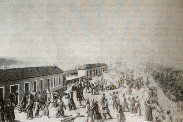 Восстание новгородских военных поселян в 1831 году. Литография 30-х годов XIX века.