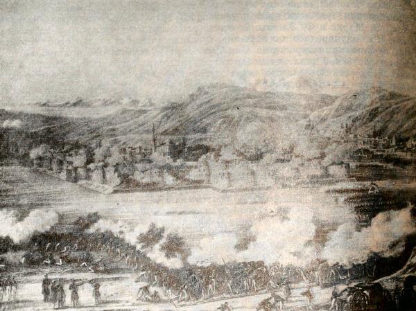 Штурм крепости Ереван русскими войсками 1 октября 1827 года. Литография К. Беггрова по рисунку В. Мошкова.