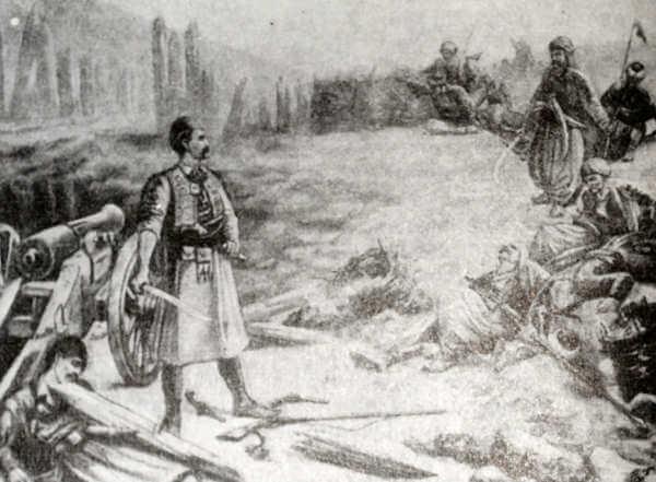 Сербское восстание 1815 года. Битва на реке Любиче. Рисунок.