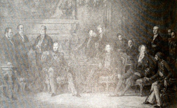 Парижский конгресс. Гравюра Т. М. О. Бланшара по картине Э. Л. Дюбюфа.