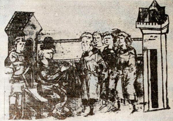 Князь, принимающий дань. Миниатюра из Радзивиловской летописи. XV век.