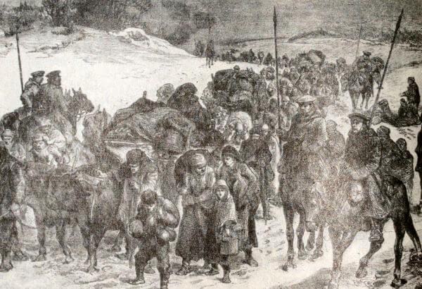 Возвращение болгарских беженцев домой под защитой русских солдат. Гравюра. 1878 год.