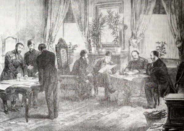 Подписание мирного договора между Россией и Турцией в Сан-Стефано. Гравюра 1878 года.