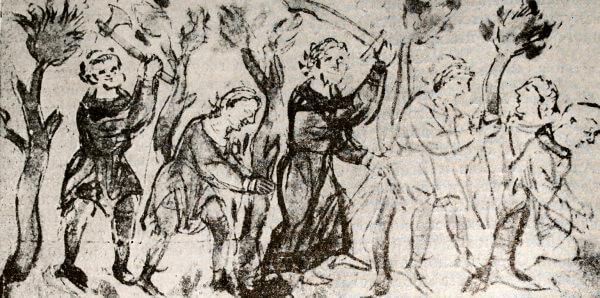 Крестьянское восстание на Белоозере в 1071 году. Миниатюра из Радзивиловской летописи. XV век.