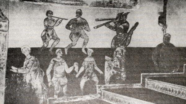 Изображение музыкантов и плясунов на лестничной фреске Киевского Софийского собора. XI век.