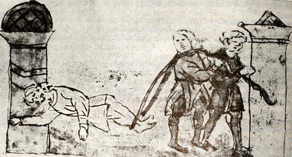 Восстание в Киеве в 1146 году. Миниатюра из Радзивиловской летописи. XV век.