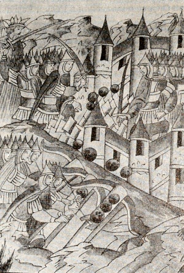 Оборона города Козельска в 1238 году. Миниатюра из Лицевого летописного свода. XVI век.