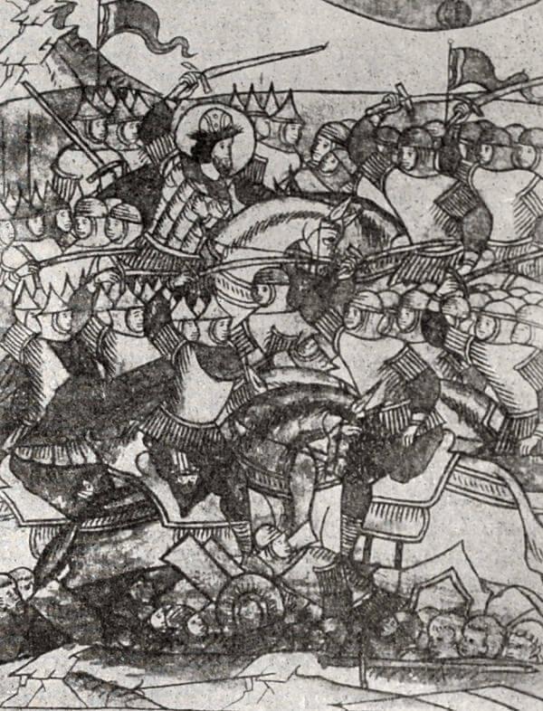 Ледовое побоище 1242 года. Миниатюра из Лицевого летописного свода. XVI век.