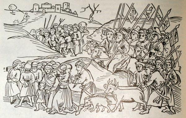 Увод татаро-монгольскими завоевателями пленных из Галицко-Волынской Руси. Миниатюра из венгерской хроники. 1488 год.
