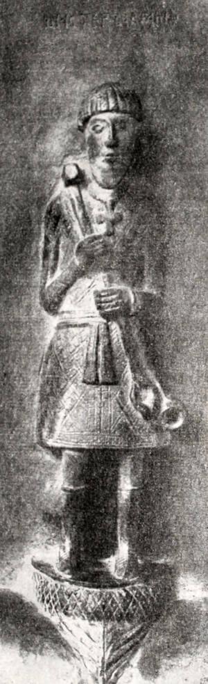 Мастер Аврам. Автопортрет. Деталь с Корсунских врат новгородского Софийского собора. XIV век.
