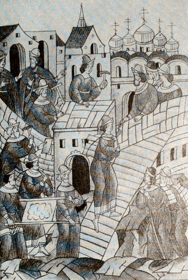 Постройка каменного Кремля в Москве в 1391 году. Миниатюра из Лицевого летописного свода. XVI век.