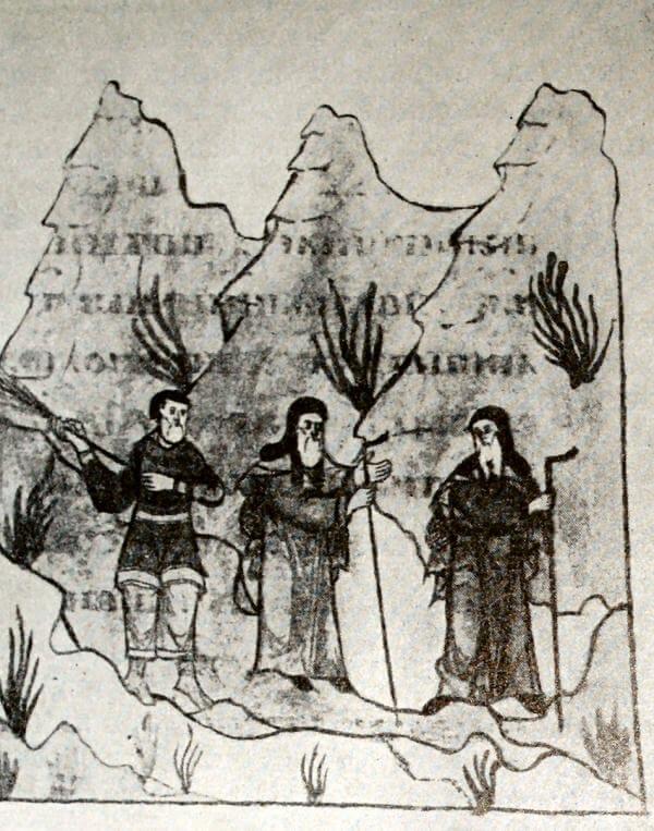 Крестьянин изгоняет монахов с захваченной ими земли. Миниатюра из Жития Антония Сийского. Список 1648 год.