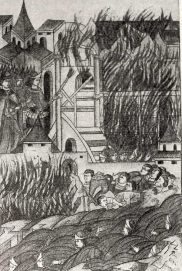 Восстание в Твери против татарского посла Шевкала в 1327 году. Миниатюра из Лицевого летописного свода. XVI век.