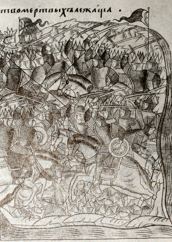 Битва на Куликовом поле 8 сентября 1380 года. Миниатюра из Лицевого летописного свода. XVI век.