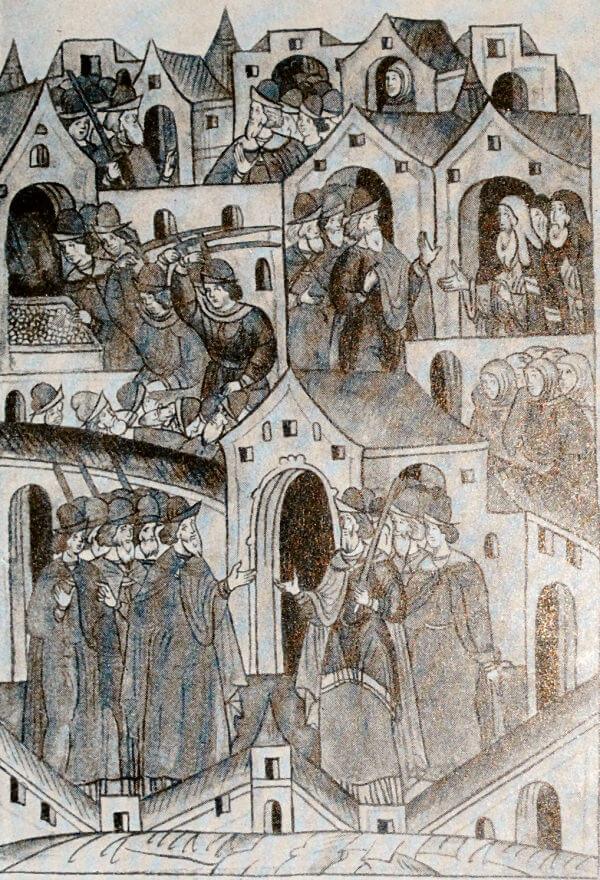 Восстание черных людей в Москве в 1382 году. Миниатюра из Лицевого летописного свода. XVI век.