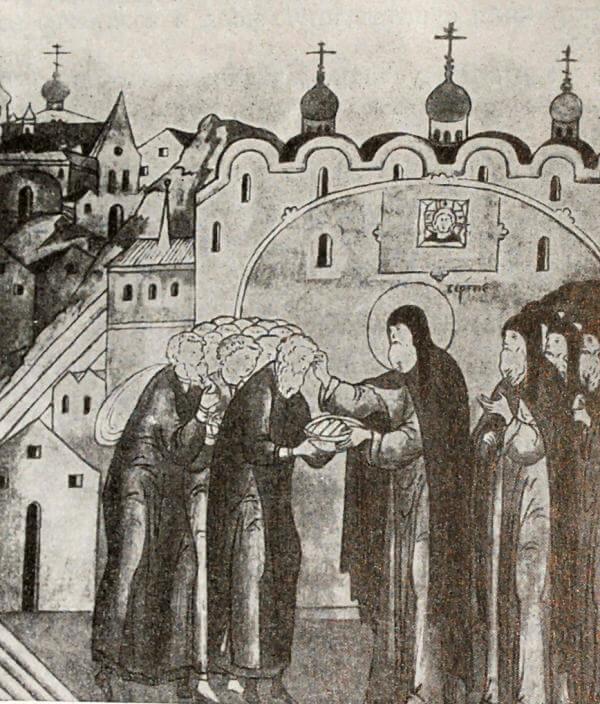 Крестьяне, приносящие оброк в монастырь. Миниатюра из Жития Сергия Радонежского. Конец XVI века.