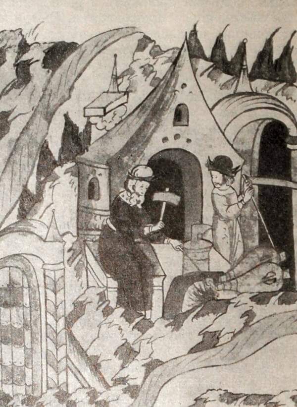 Кузнецы. Миниатюра из Лицевого летописного свода. XVI век.