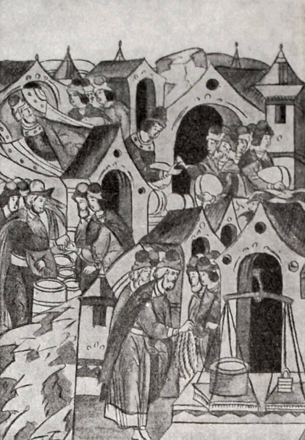 Торговля мёдом и хлебом в Новгороде. Миниатюра из Лицевого летописного свода. XVI век.