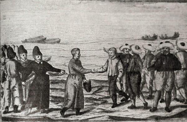 Встреча русских промышленных людей с голландскими купцами на берегу Ледовитого океана. Гравюра 1595 года.