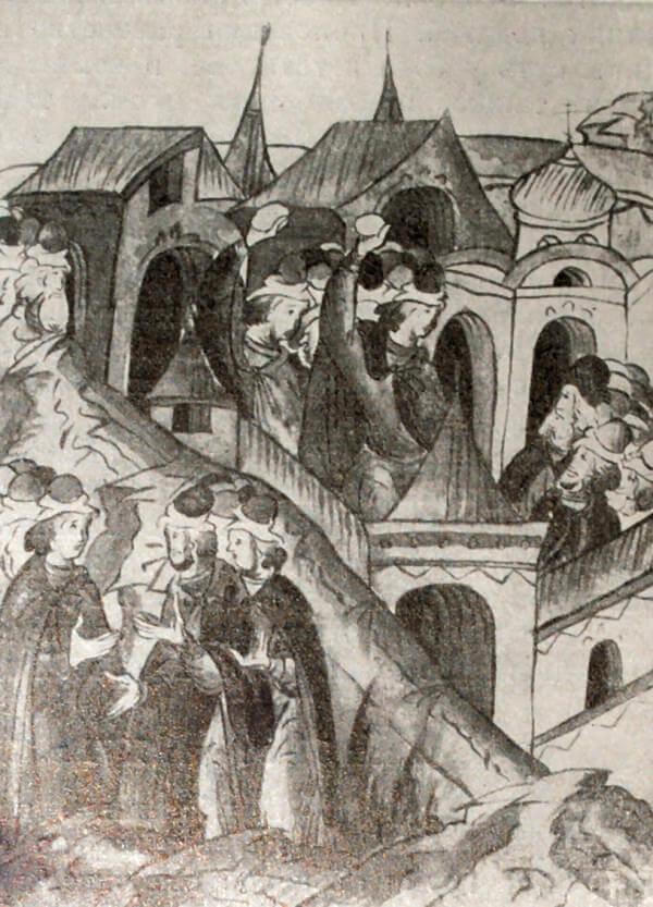 Восстание в Москве в 1547 году. Миниатюра из Лицевого летописного свода. XVI век. (Перерисовка)